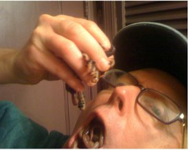 This image of a man eating worms is similar to one that was shown to subjects in the study. Source: Kevin B. Smith, et al., 'Disgust Sensitivity and the Neurophysiology of Left-Right Political Orientations,' www.plosone.org, Oct. 19, 2011